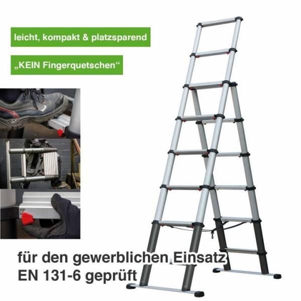 EZSTEP Profi Teleskop-Kombistehleiter mit 8+2 Stufen (Gesamtlänge 3,0 Meter) - gewerblicher Einsatz