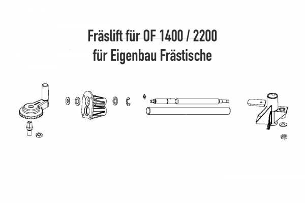 Oberfräsen-Fräslift für OF 1400 & 2200 für Eigenbau Frästisch
