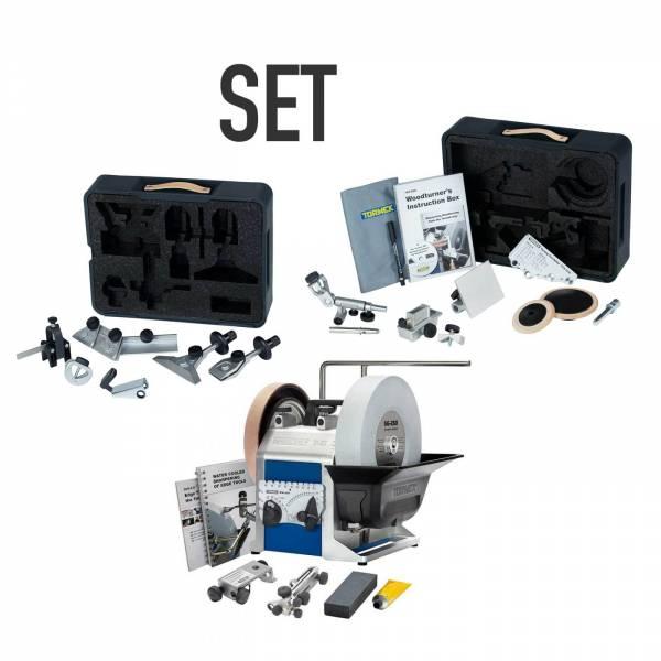 SET-ANGEBOT: TORMEK® Nassschleifmaschine-SET T-8 + Haus- & Heimpaket HTK-806 + Drechslerpaket TNT-808