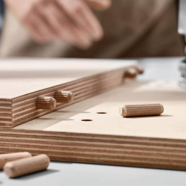 Holzdübel mit Rillen aus Buche - 1000 Stück - 5x30mm