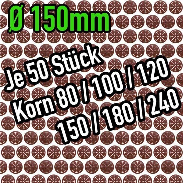 Klingspor Ø 150mm Holz-Schleifscheiben-Paket - Lochbild: Festool - Korn 80 bis 240 - 300 Stück