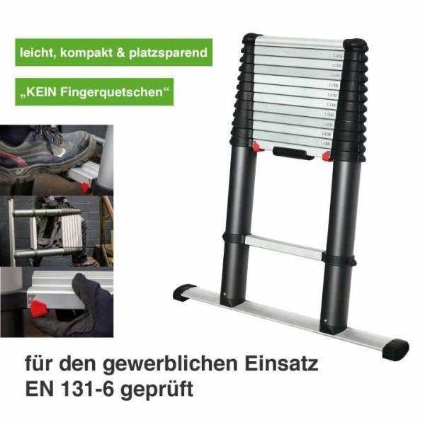 EZSTEP Profi Teleskop-Anlegeleiter mit 13 Stufen (Gesamtlänge 3,8 Meter) - gewerblicher Einsatz - EN