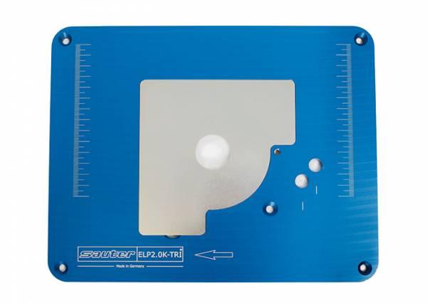 SAUTER Aluminium Einlegeplatte für Triton Oberfräse MOF001 und TRA001 (Kreg Format)- ELP2.0K-TRI, vorgebohrt