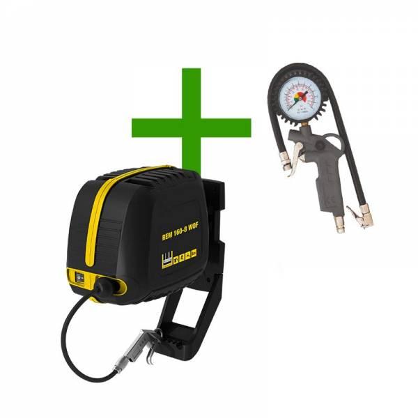 Schneider Kompressor im Schlauchaufroller REELMASTER mit Reifenfüller + Ausblaspistole - REM 160-8 WOF SET