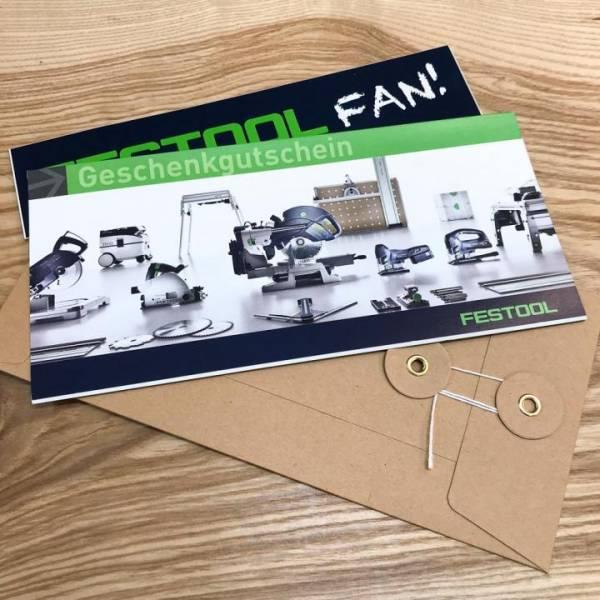 """Geschenkgutschein """"Festool Fan"""" mit Bindfadenkuvert & Sticker"""